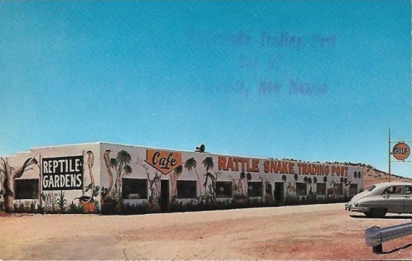 JAKE ATKINSON'S RATTLE SNAKE TRADING POST AT BLUEWATER, NEW MEXICO. C.1952