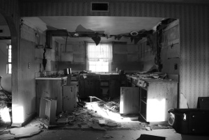 The interior of an abandoned apartment in the 'fort'.